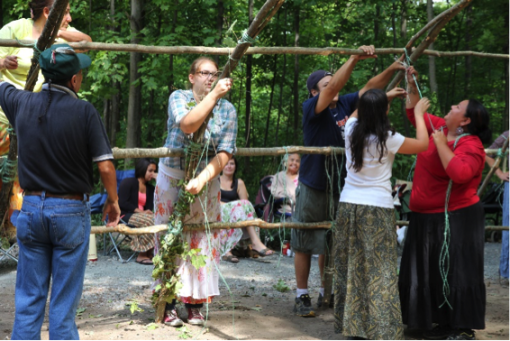 Alumni building a Lodge in Shingwauk  funded by the Fulbright Canada Community Leadership Program
