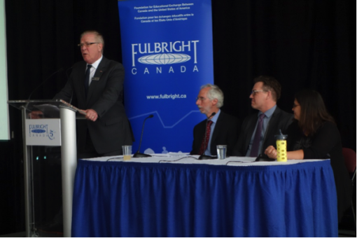"""Earth Day panel, """"Challenges of Conducting Research in the Arctic,"""" at Ottawa City Hall, April 22, 2015  (left to right) Dr. Michael Hawes (Fulbright Canada), Dr. Ross A. Virginia (co-lead scholar of the Fulbright Arctic Initiative),  Dr. Greg Poelzer (Fulbright Arctic Initiative scholar), Tracy Coates (University of Ottawa, Institute of Aboriginal Studies)"""