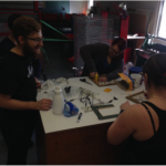 Teams of students collaborate to make the funkiest, strongest, most recyclable creations they can from trash and recyclables collected by event organizers